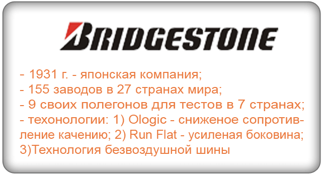 Шины Bridgestone (Резина Бриджстоун)